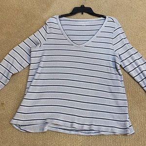 grey striped long sleeved